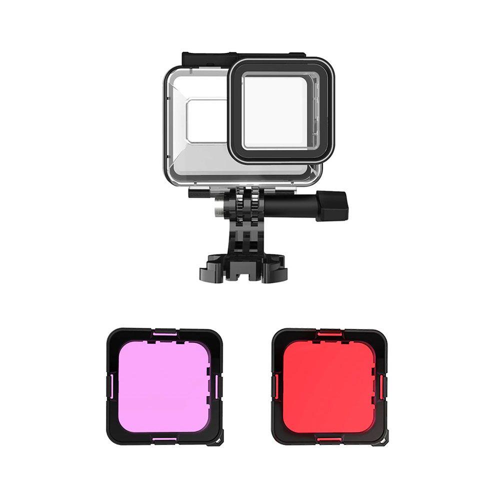 Caixa Estanque com Filtros de Mergulho - GoPro Hero8 Black - 45 Metros - Telesin