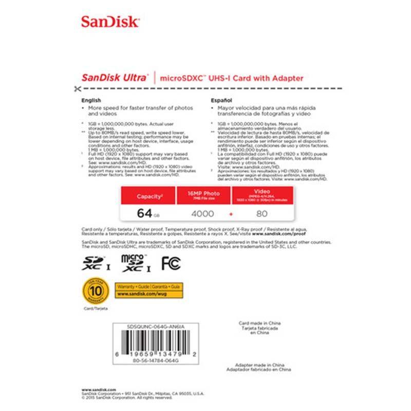 Cartão de Memória - Sandisk Ultra - 64GB - 80 MB/s - Classe 10