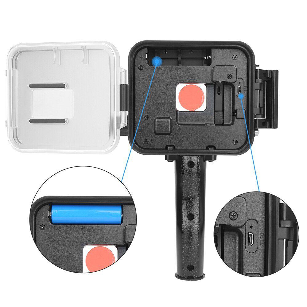 Iluminador LED Sub Aquático com Filtro - GoPro Hero7 Hero6 Hero5 Black