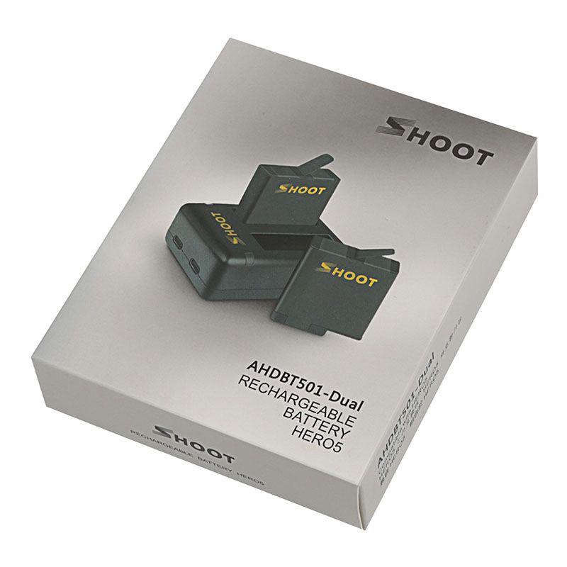 Kit com Carregador Duplo e Duas Baterias - GoPro Hero8 Hero7 Hero6 Hero5