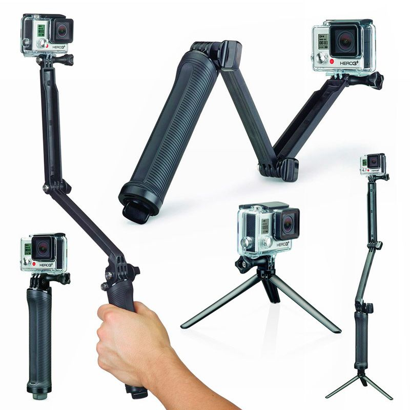 Kit com Monopod 3 Way - Bastão Flutuante - Caixa Estanque Hero5, Hero6 e Hero7 Black