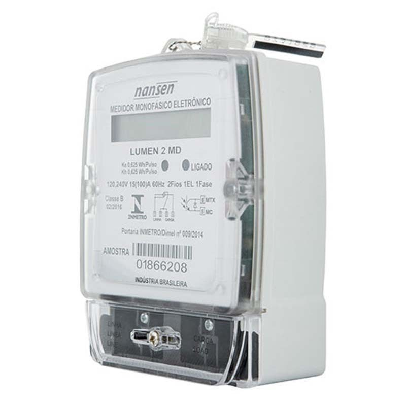 Medidor de Energia - Nansen Lumen 2 MD - Monofásico - Eletrônico - 2 Fios