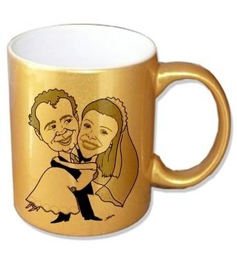 Caneca Cerâmica Dourada