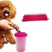 Copo Rosa Limpador Cachorro Limpa Patas Patinhas Pet Banho