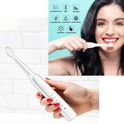 Escova de Dente Recarregavel USB Refil Eletrica Dental Branco Higiene Bucal