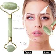 Massageador Rolo Massoterapia Facial Pedra Jade Anti Estresse Anti Rugas Beleza