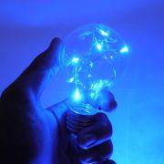 Pisca Pisca Led Natal Lampada Bocal Enfeite Azul Festa Evento Usb Pilha