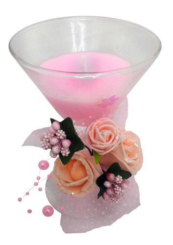 Vela Enfeite Mesa Flor Rosa Festa Debutante Casamento 2 Unid (WL-D Vela Media Larga Rosa KIT COM 2)