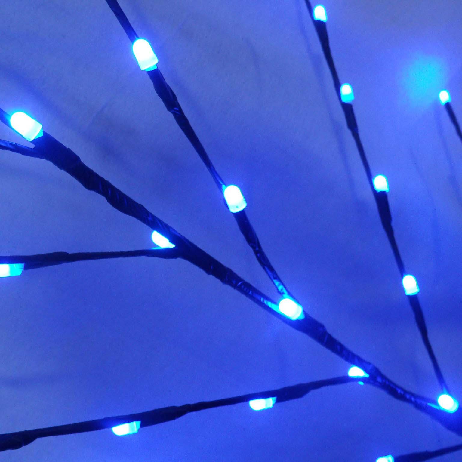Arvore Abajur 71 Led Decoracao Luminaria Natal Cerejeira Grande 1,46m Bolinha Azul (89225 bola
