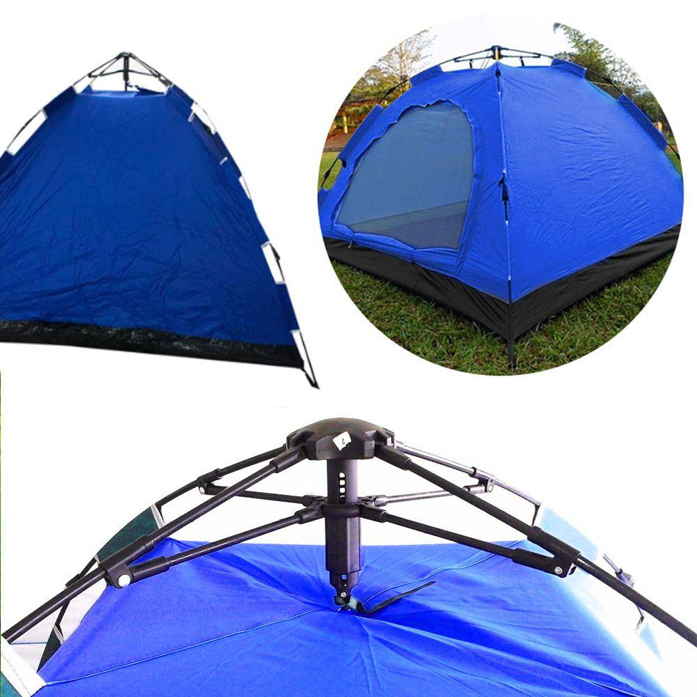 Barraca Automatica 4 Lugares Camping Azul com Cinza Monta Sozinha Iglu