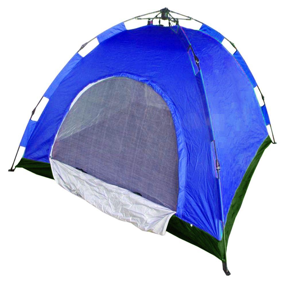 Barraca Automatica 4 Lugares Camping Azul com Verde Monta Sozinha Iglu