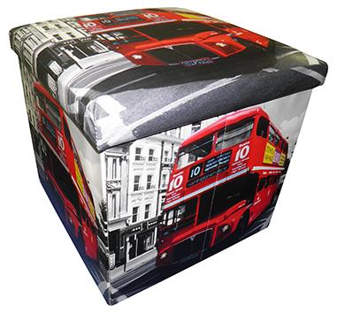 Bau Puff Porta Treco Dobra Assento Vintage Retro Onibus London (PF-9)