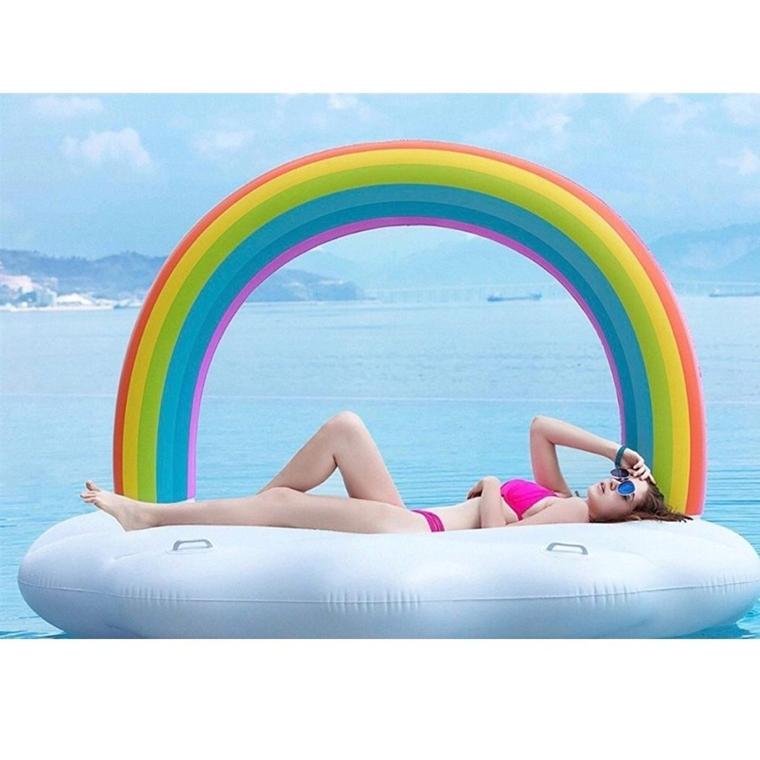 Boia Arco Iris Inflavel Gigante Flutuante 2 Metros Piscina Praia Festa Lazer 4 Pessoas