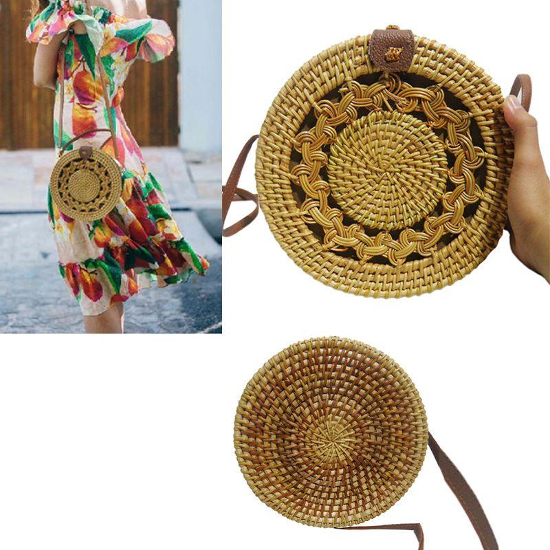 Bolsa de Ombro Tendencia Verao Rattan Bali Redonda Palha Moda