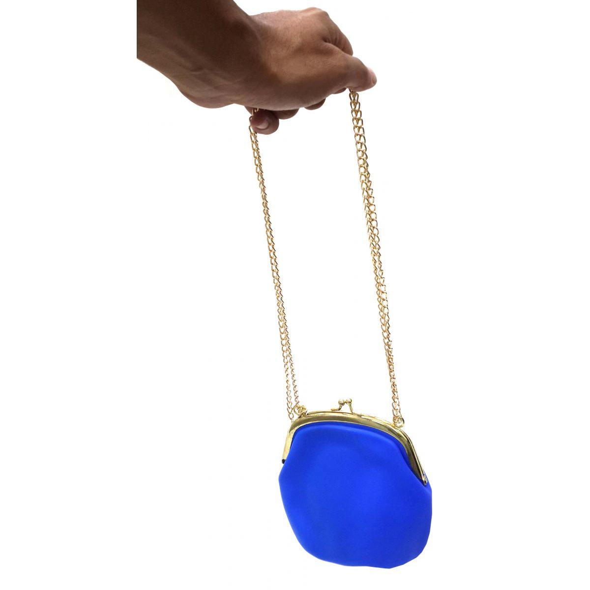 Bolsa De Silicone Tiracolo Retro Azul Com Correntes Douradas (BL-2662-6)