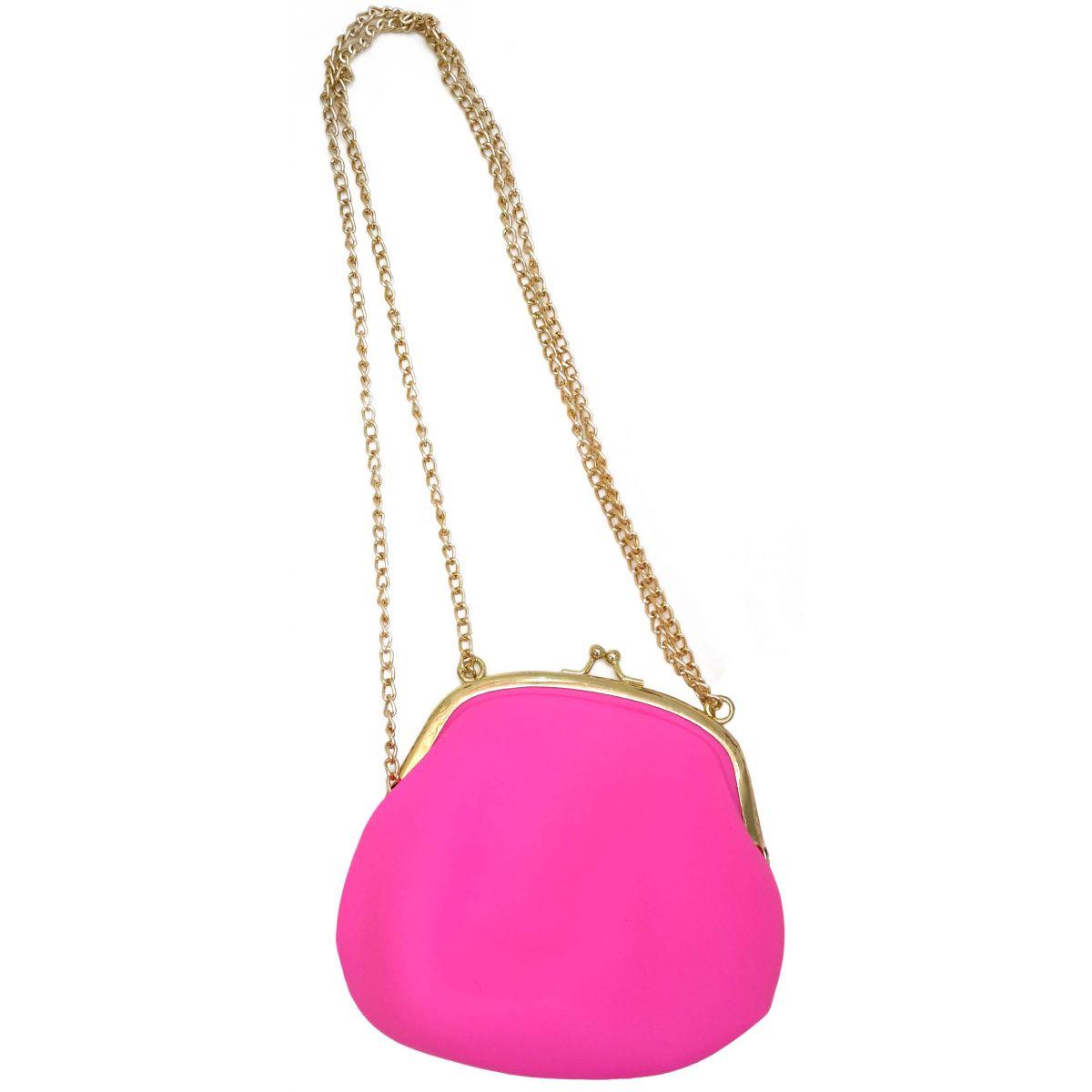 Bolsa De Silicone Tiracolo Retro Rosa Com Correntes Douradas (BL-2662-6)