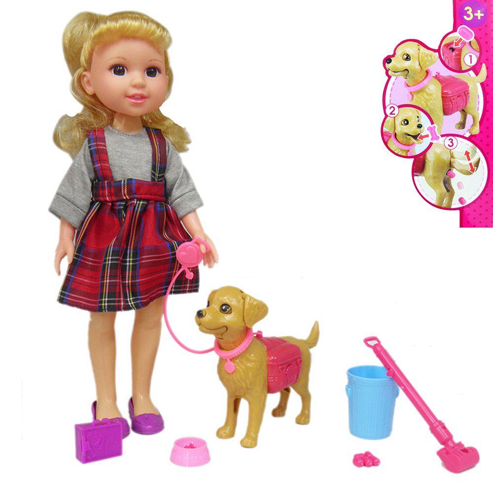 Boneca Com Cachorro Faz Coco Brinquedo Kit Limpeza Pet