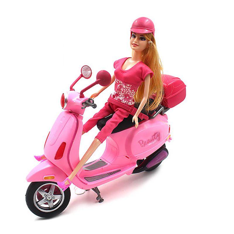 Boneca Fashion Entregadora Scooter Moto Motocicleta Brinquedo