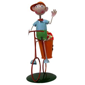 Boneco com Bicicleta Enfeite e Decoraçao Jardim Casa Flores (BON-M-13)