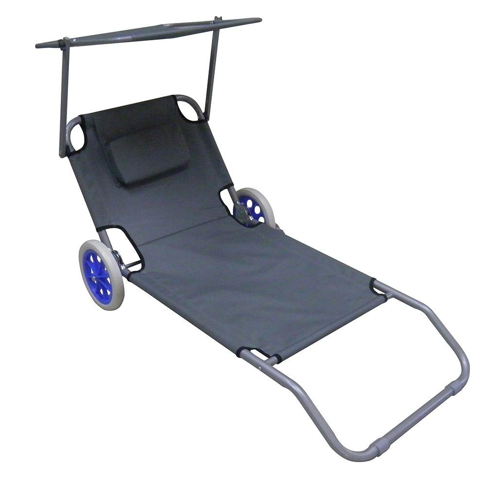Cadeira de Praia Dobravel Espreguiçadeira com Rodas Para Sol Camping