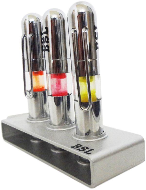 Caneta Marca Texto 3 Caneta com 1 suporte cromado Kit com 12 Moderna Empresa Brinde