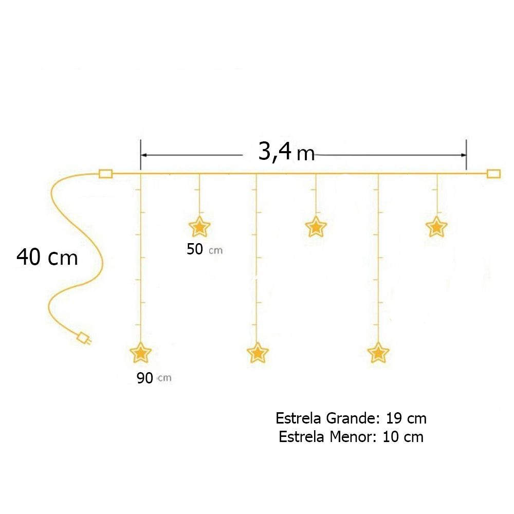Cascata Led Estrela Natal Pisca Pisca Natalino 138 Led Branco 8 Funcoes 110v