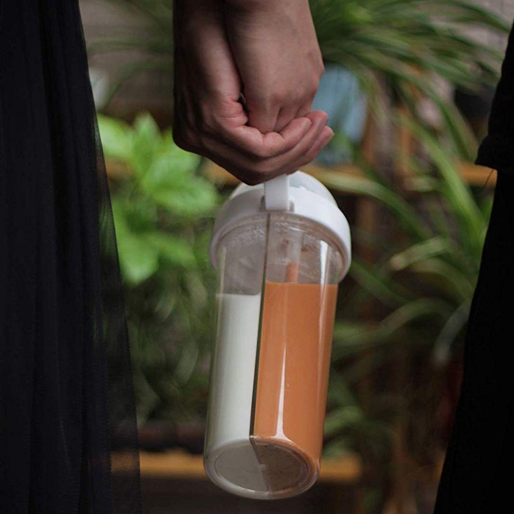 Copo 2 em 1 bebida quente  frio garrafa de 2 canudo duplo compartimento  com tampa Branco