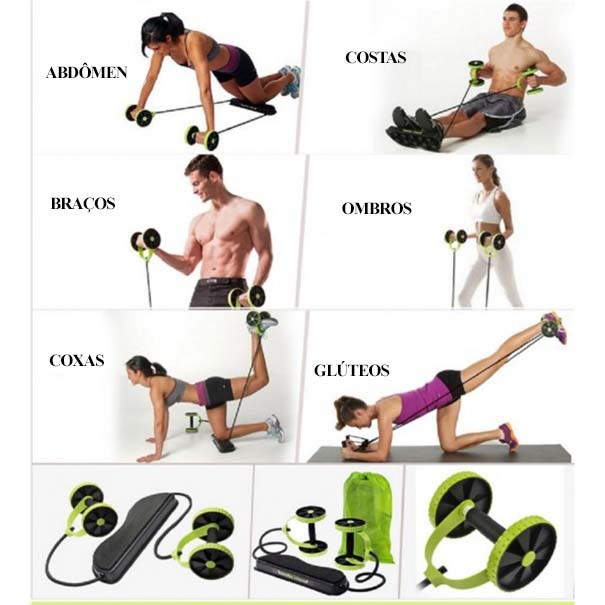 Elastico Roda para Exercicio Abdominal Revoflex Aparelho Fitness Portatil (888109 / MC762360)