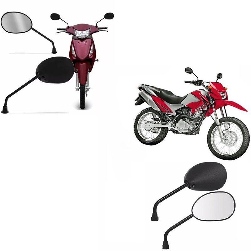 Espelho Par Mini Retrovisor Moto Biz 125 Bros 09 Serve em Todas Hondas (25451)
