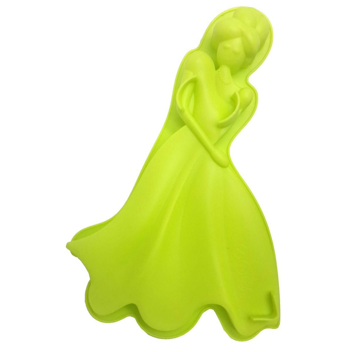 3 Forma de Silicone Para Doces Torta Pudim Bolo Cozinha Princesa Verde (sili-9)