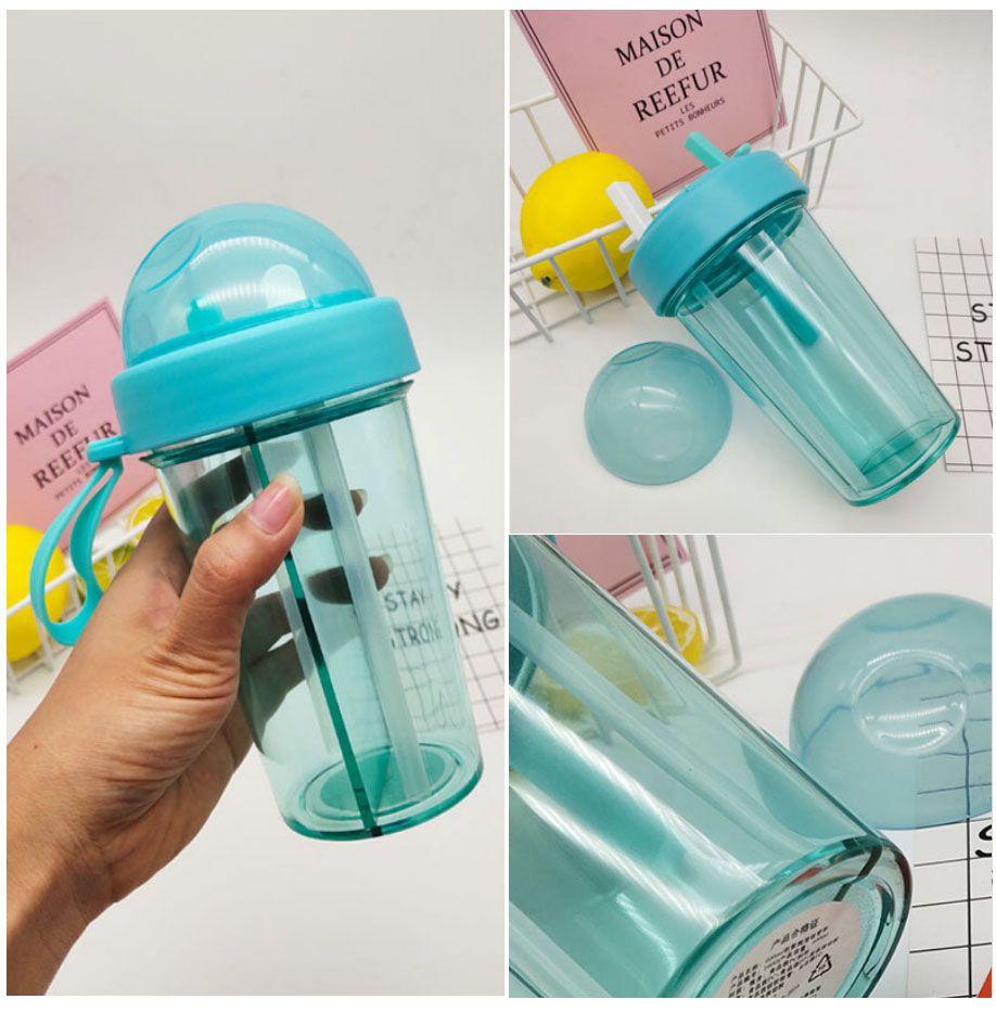 Garrafa  de canudo duplo 2 compartimento  com tampa copo bebida quente fria  2 em 1 azul