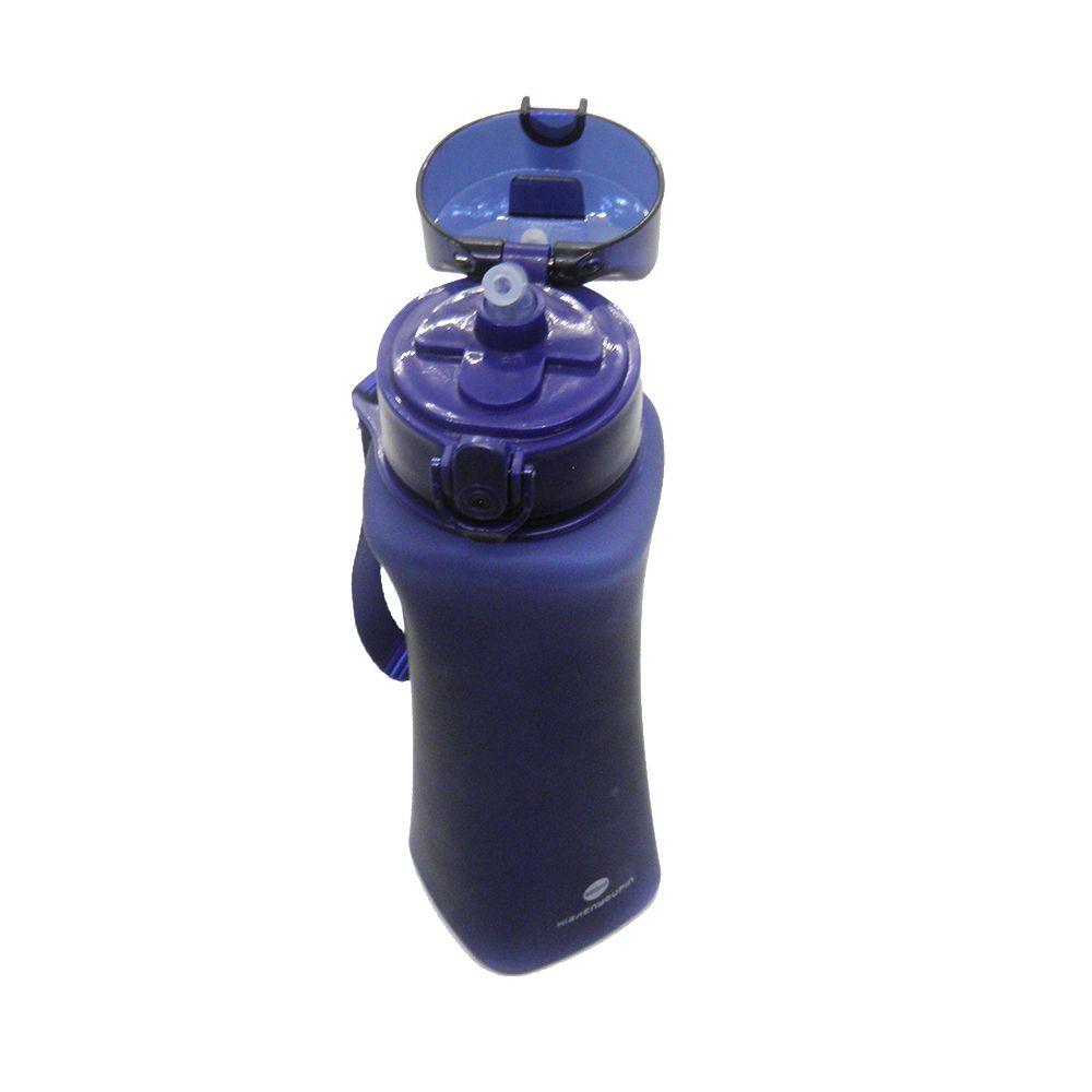 Garrafa Squeeze Academia Esporte Bebida 600ml Trava Azul Bico de Silicone