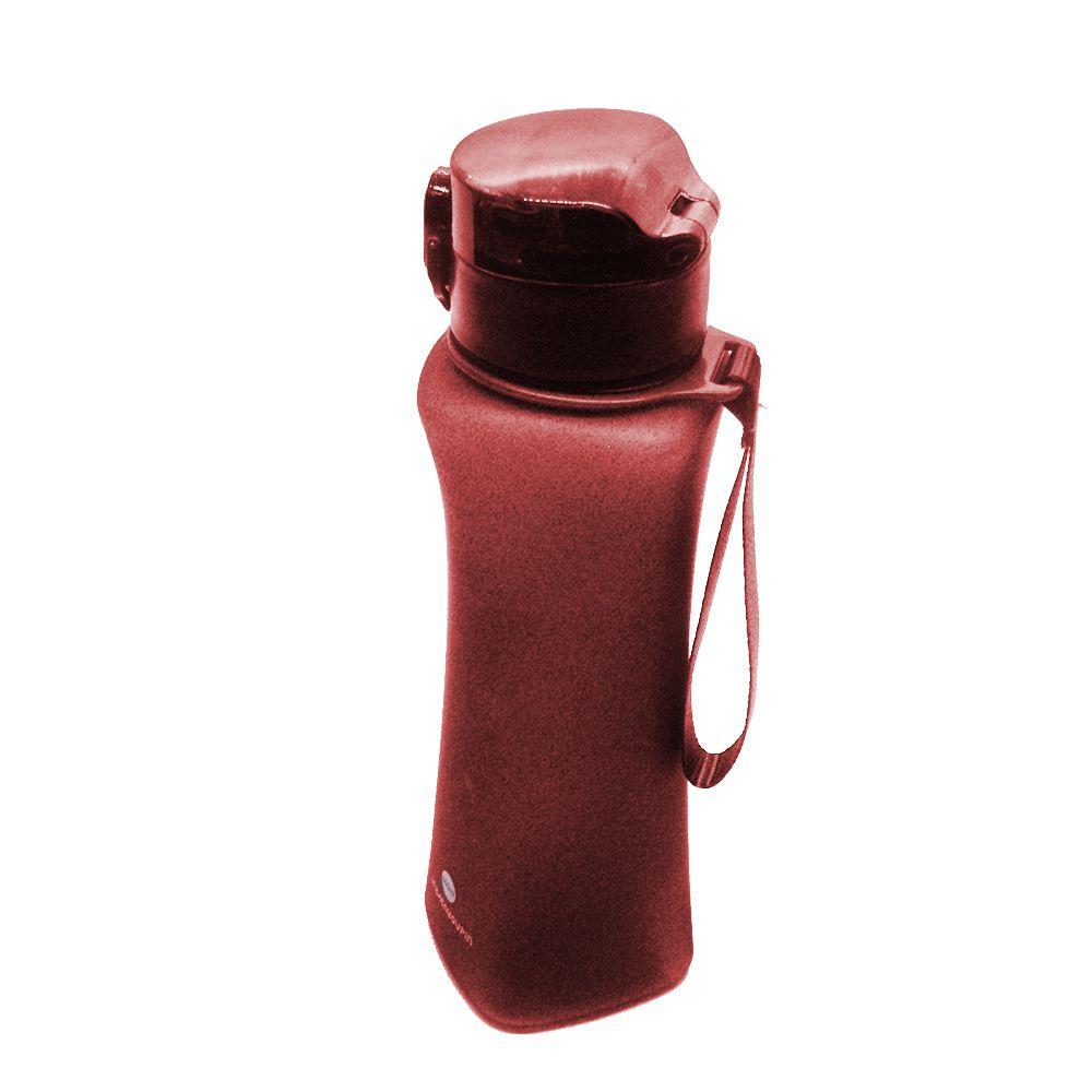 Garrafa Squeeze Bico de Silicone Vermelho Alça 600ml Academia Trava