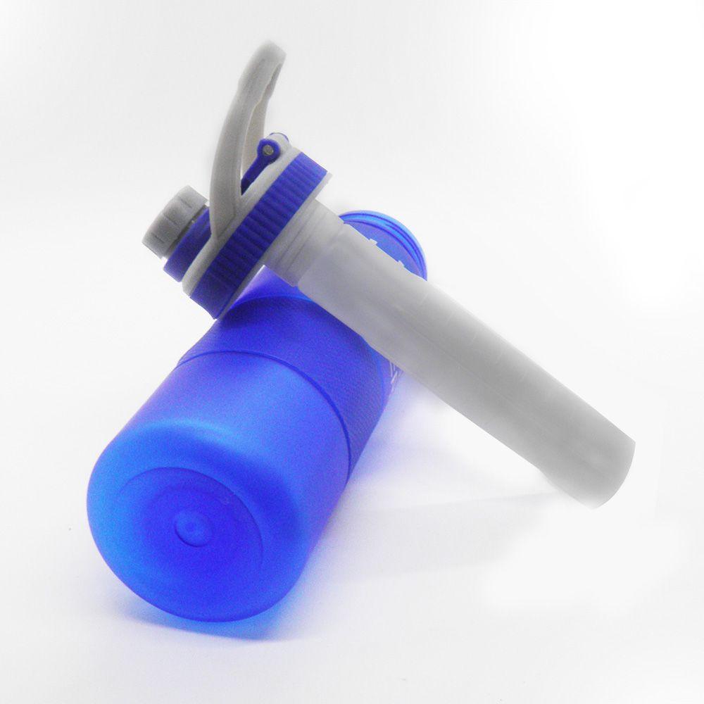 Garrafa Squeeze Tubo Gelo Resfriamento Azul Trava Alça Academia 700ml