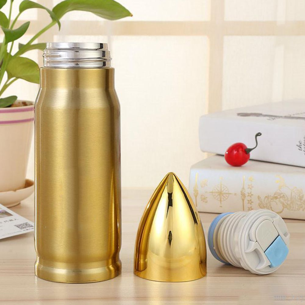 Garrafa Termica 500ml Inox Bullet Projetil Muniçao Capsula Dourada Bala