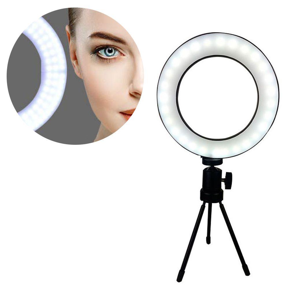 Iluminador Ring Light Tripe Mesa LED Portatil Youtube Foto Video Controle Usb Quente/Fria Luz