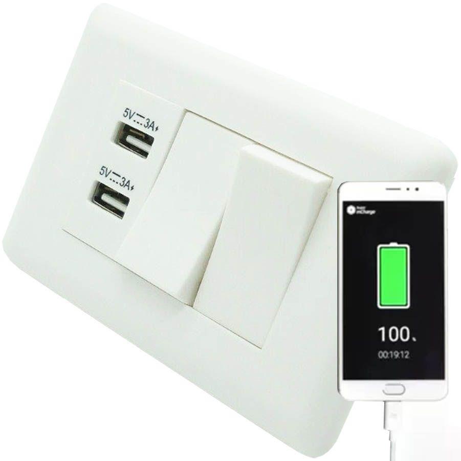 Interruptor Duplo e 2 Entradas USB Adaptador Celular Parede