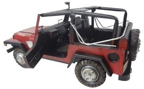 Jeep Automovel Rubicon De Ferro Fundido Vintage Retro 40cm Vermelho (CJ-004)