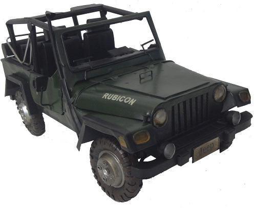 Jeep Automovel Rubicon De Ferro Fundido Vintage Retro 40cm Verde Escuro (CJ-004)