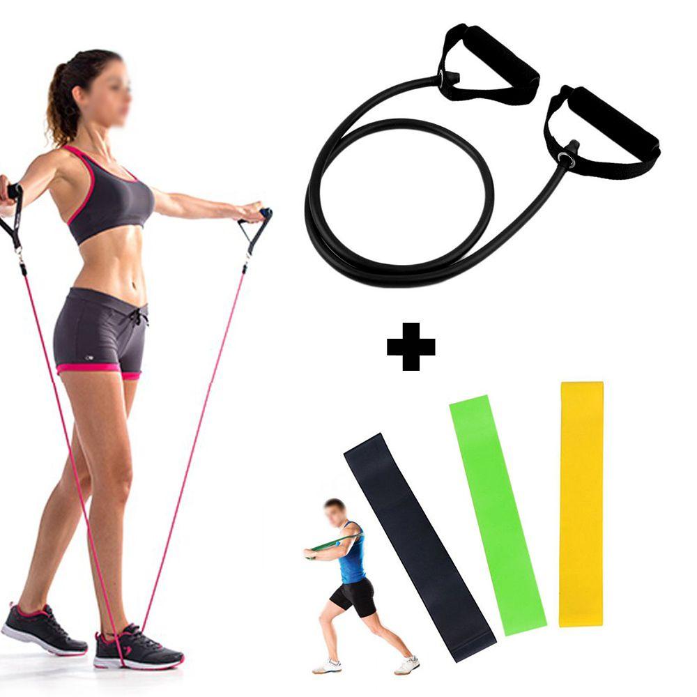 Kit Ginastica Extensor Elastico Fitness + 3 Faixas Latex Band Exercicios