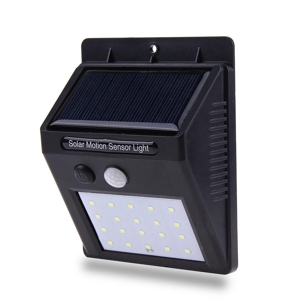 Luminaria Lampada Solar Sensor Parede 20 Leds 12 horas Energia Noite