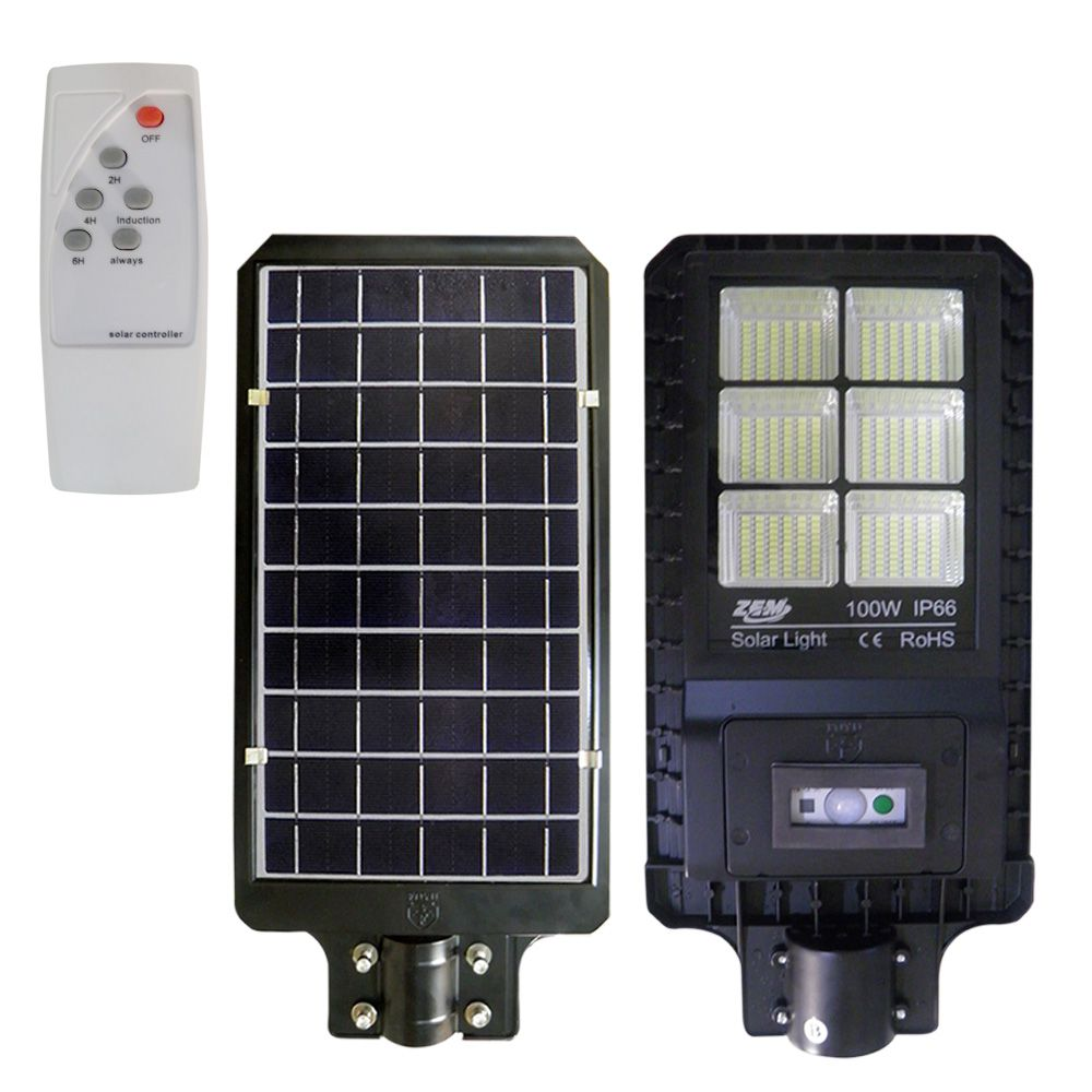 Luminaria Solar LED Placa Fotovoltaica 150W Refletor Poste Luz Sensor Resiste Agua