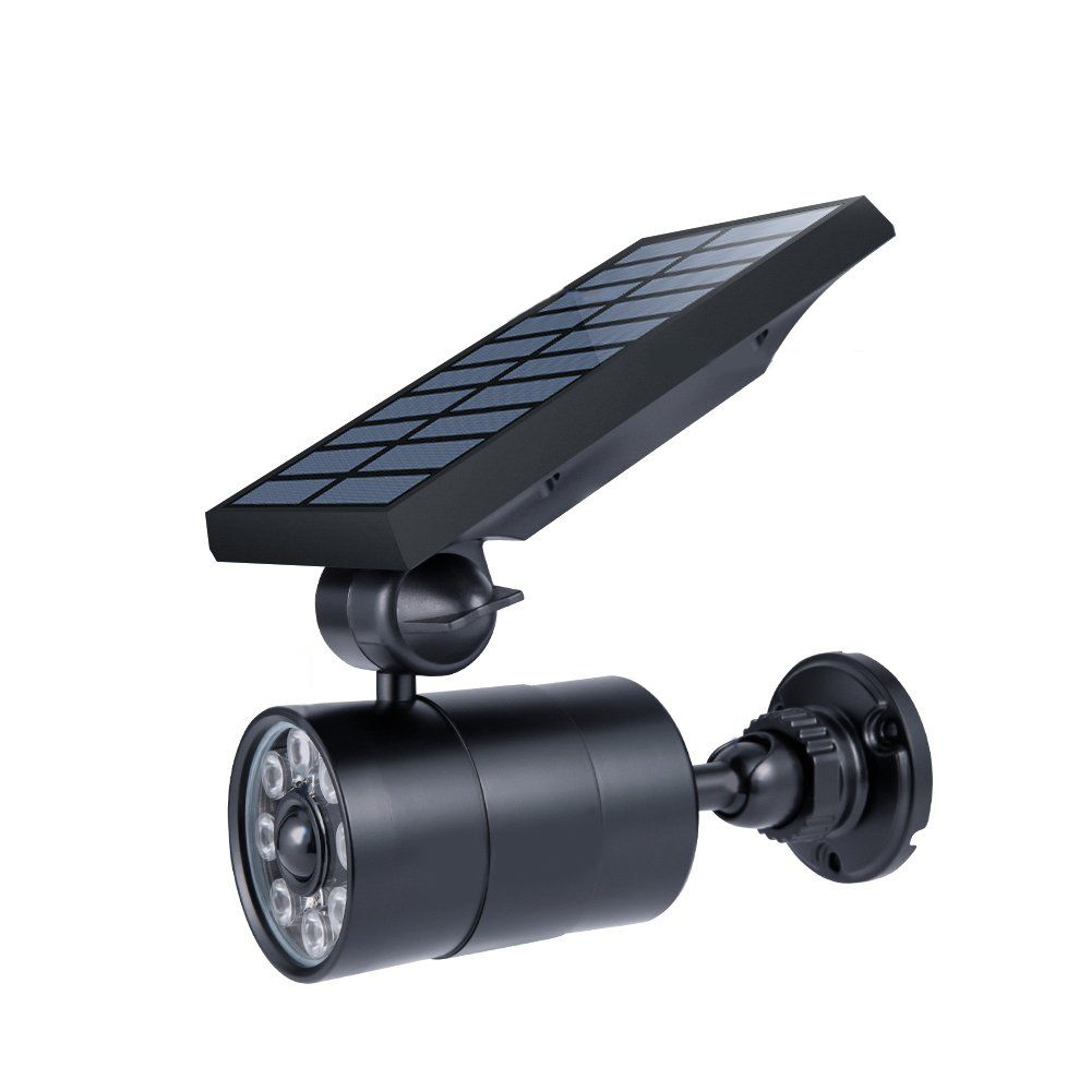 Luminaria Solar Recarregavel Com Sensor Movimento Camera Falsa Luz Segurança Parede Casa