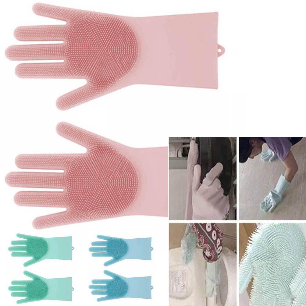 Luva Par Magica Escova de Limpeza Silicone Lava Loucas Banho Caes Resistente (BSL-LIMP-4)
