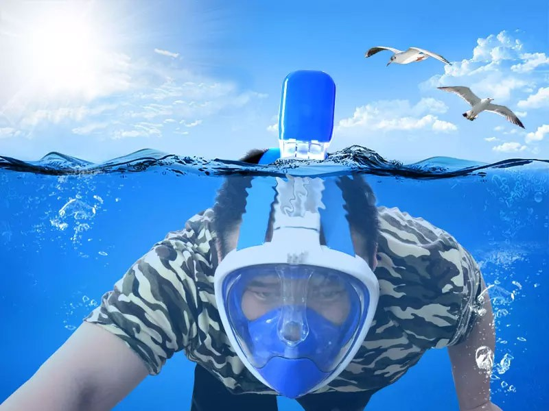 Máscara de Mergulho Snorkel Full Face Suporte Gopro Anti Embaçamento G/GG Azul (BSL-xst-2)