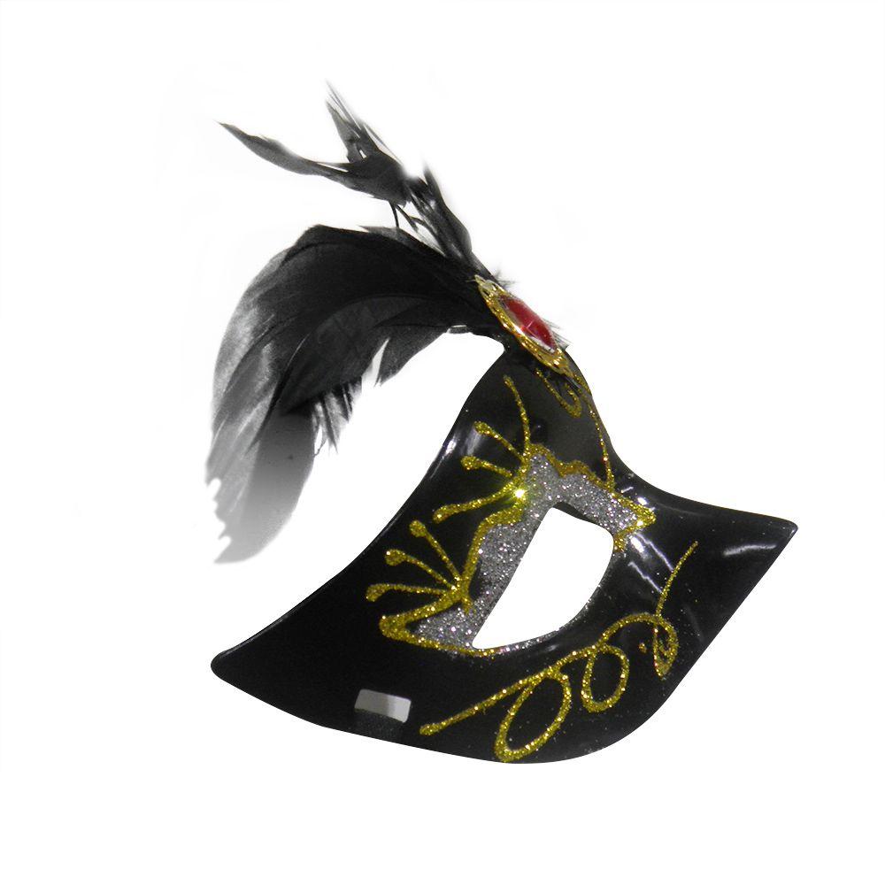 Mascara Fantasia Carnaval kit com 6 unidades Preto Festa