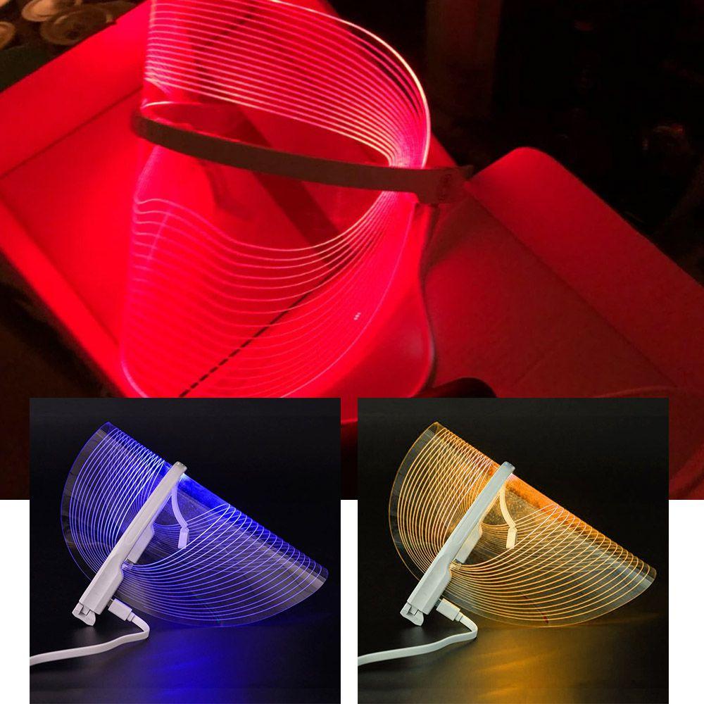 Mascara Tratamento Facial SPA Iluminacao 3 Cores LED Luz Foton Anti Rugas Acne