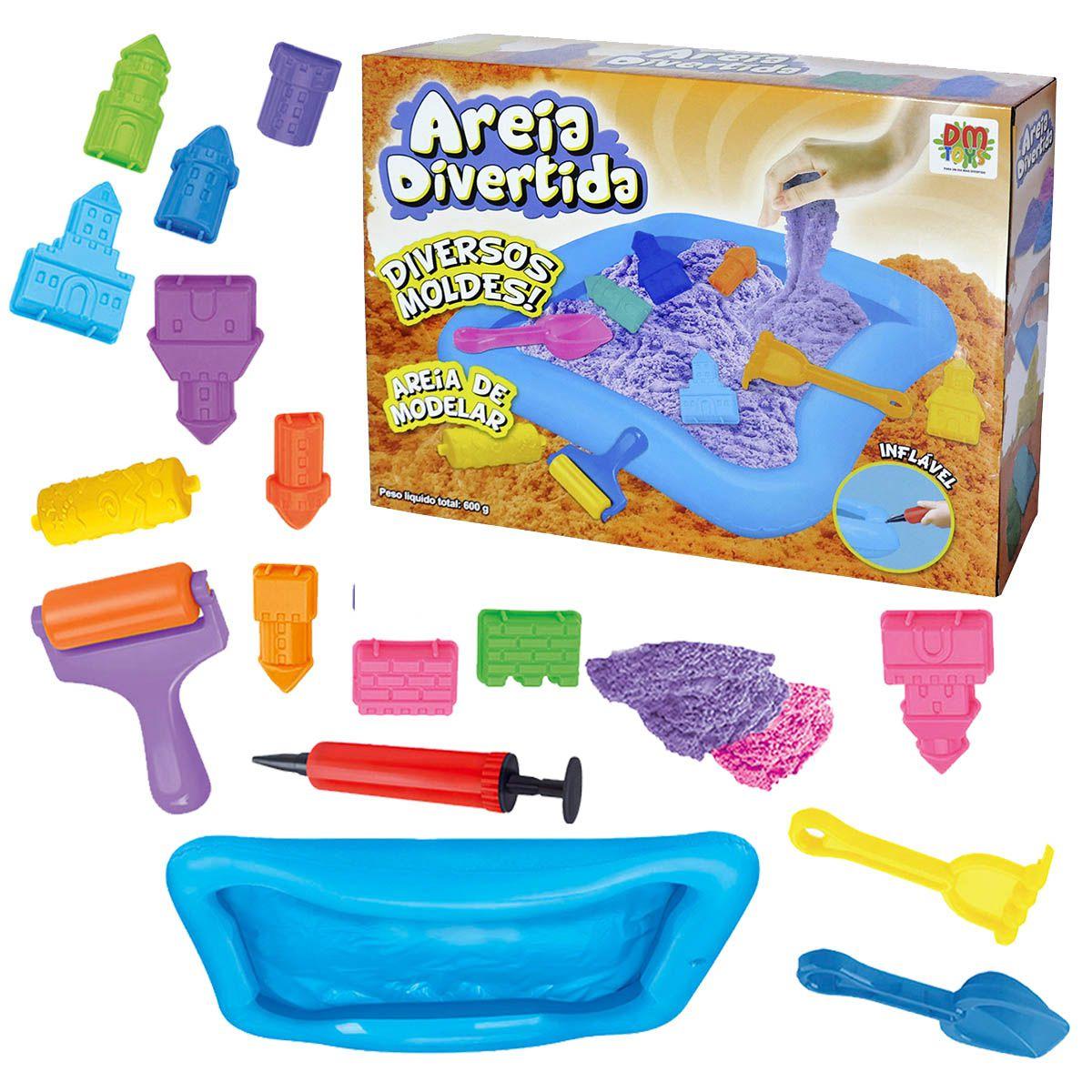 Massinha Divertida Areia Magica Modelar 600g 10 Moldes E Acessorio brinquedo Castelo (DMT5339)