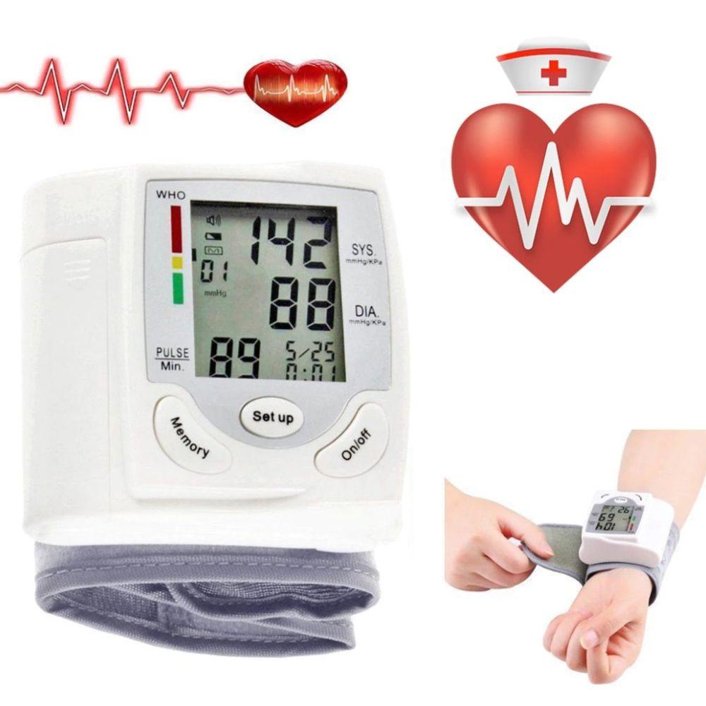 Medidor de Pressao Cardiaco Digital Arterial Pulso Braço Portatil Pilha