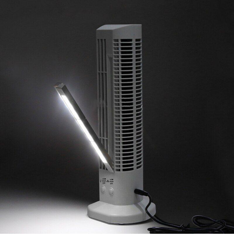 Mini Ventilador Abajur Torre Vertical usb mesa computador luminaria Branco